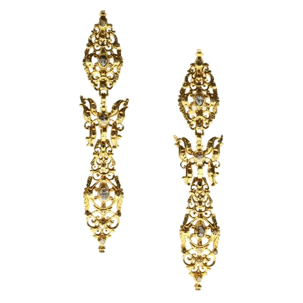 300 yrs old antique long pendent earrings with rose cut diamonds high carat gold