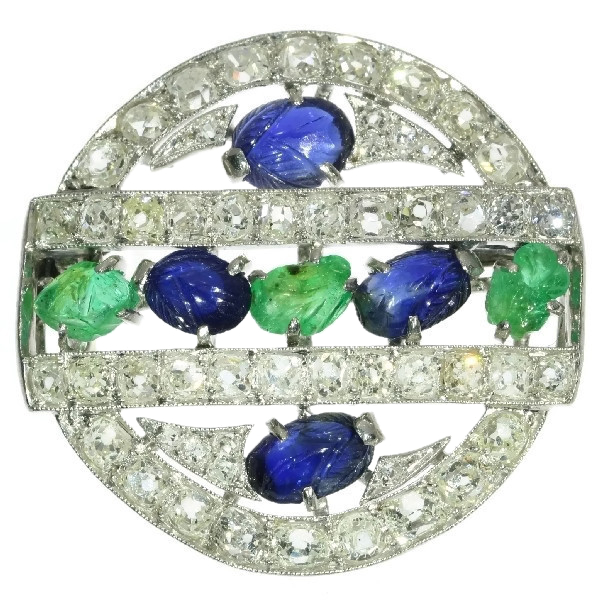 French Art Deco so-called tutti frutti brooch with diamond emerald sapphire