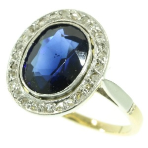 Art Deco diamond and sapphire engagement ring  Lady Di style