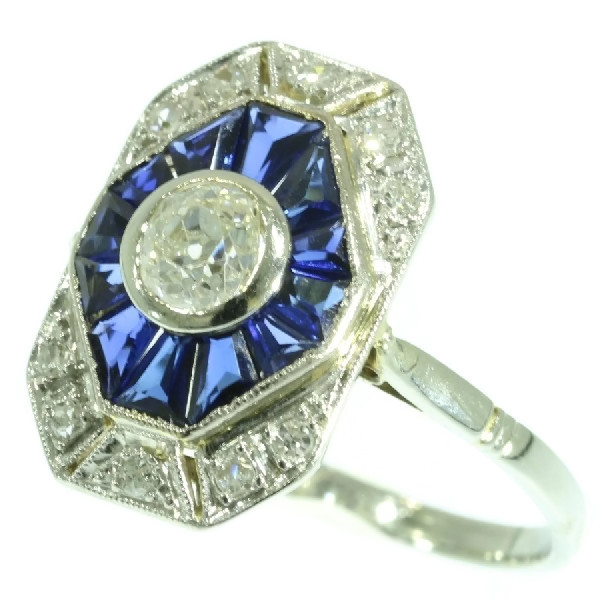 French Art Deco gold and platinum diamond sapphire estate engagement ring