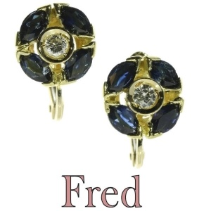 Estate signed FRED earrings with sapphires and diamonds