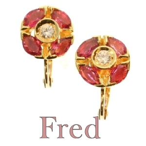 Estate signed FRED earrings with rubies and diamonds