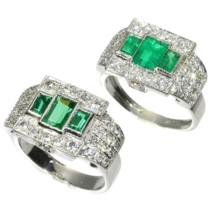 Unique ring pair of a Platinum Art Deco original with emeralds and its dummy model