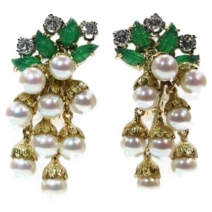 French estate gold and platinum diamond and pearl earrings with green leaves