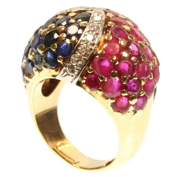 Impressive French Fifties cocktail ring brilliants rubies emeralds sapphires