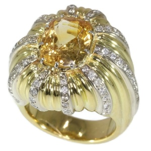 Vintage 6.56 crt cert. natural Yellow Sapphire and diamond gold cocktail ring