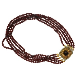 200 years old Dutch antique garnet necklace with gold filigree closure goldsmith maker known