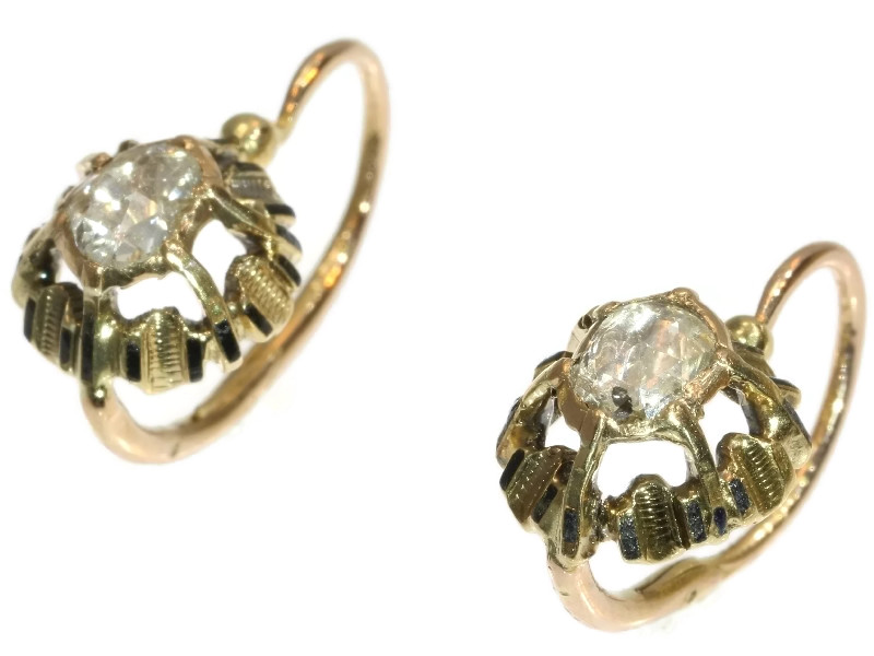 Antique diamond earrings with enamel France Mid Nineteenth Century