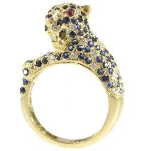 Cartier inspired panther ring with diamonds and sapphires