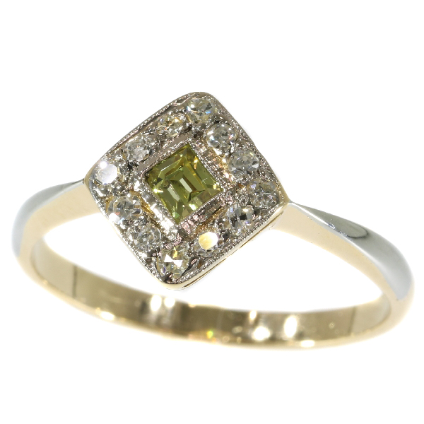 Original antique Art Deco natural fancy color diamond engagement ring