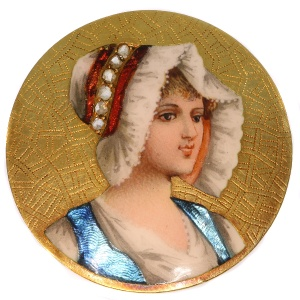 Antique Victorian brooch with enameled portrait of young French peasant girl