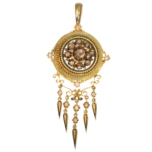 Antique rose cut diamonds and pearl enameled pendant both brooch and pendant