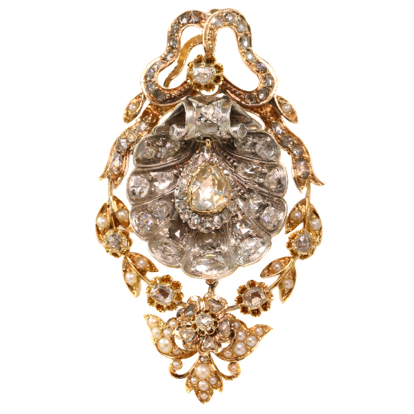 Antique pendant with big shell covered in diamonds can also be worn as brooch