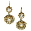 Antique Victorian earrings a shell motif set with rose cut diamonds