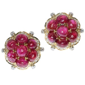 Estate Vintage ruby and diamond earrings with over 14 crt of untreated rubies