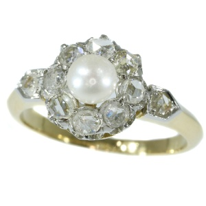 Late nineteenth Century diamond pearl engagement ring