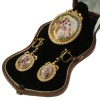 Antique gold parure brooch pendant and earrings enameled miniatures with pearls