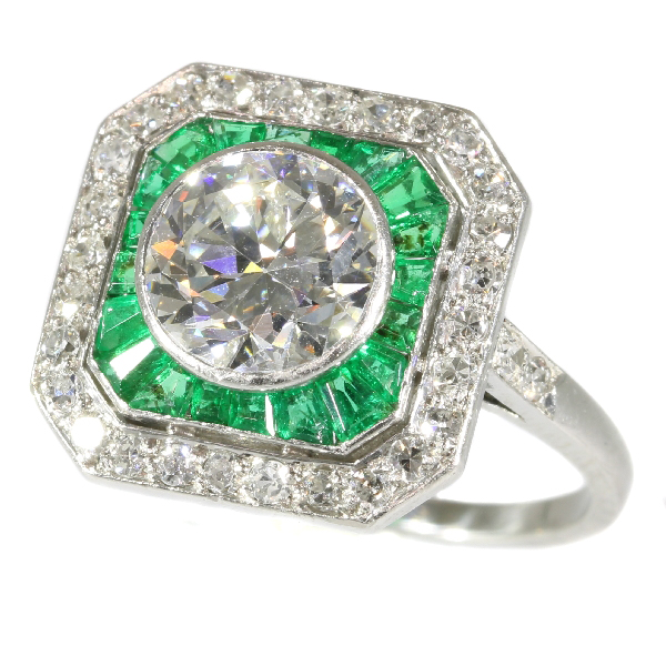 Art Deco platinum engagement ring with 1.55 ct white diamond and Brazilian emeralds