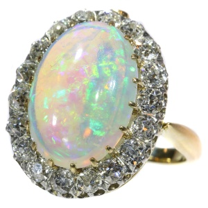 Enchanting Victorian interchangeable ring necklace with opulent opal and diamonds