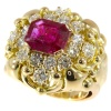 Wolfers made vintage Fifties diamond ring with large 3.40 crt untreated natural ruby
