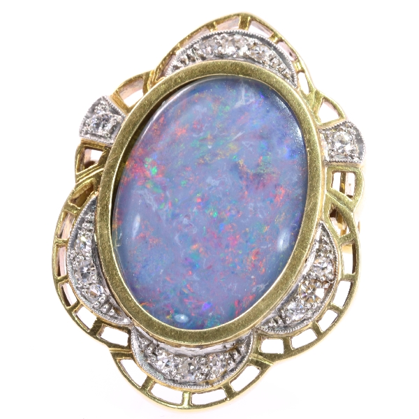 Vintage Brooch with Hidden Locket set with diamonds and big opal - circa 1940