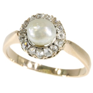 Antique rose cut diamond ring with single pearl