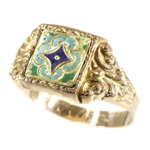 Unisex rare enameled gold ring from around 1840