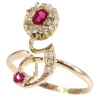Typical strong design Art Nouveau ruby and diamond ring
