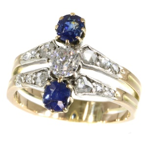 Antique Victorian ring with diamonds and sapphires