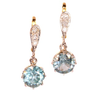 Art Deco diamond earrings with large starlites