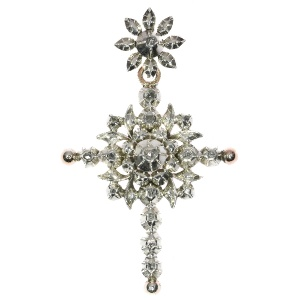 Antique Flemish cross with rose cut diamonds