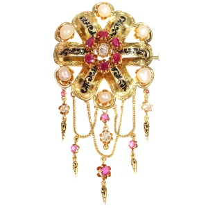 19th Century Gold brooch with fringes, diamonds, pearls, rubies and enamel