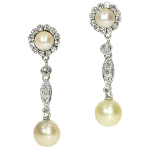 Vintage diamond and pearl ear drops