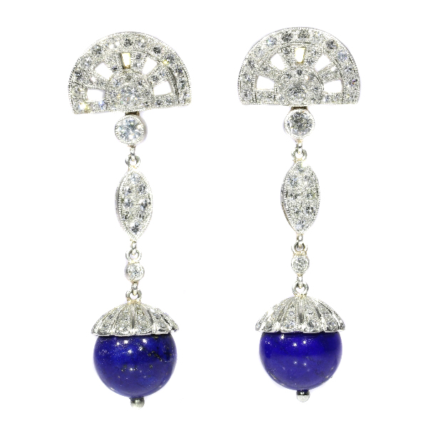 Fifties Art Deco style long pendant platinum diamond earrings with lapis lazuli