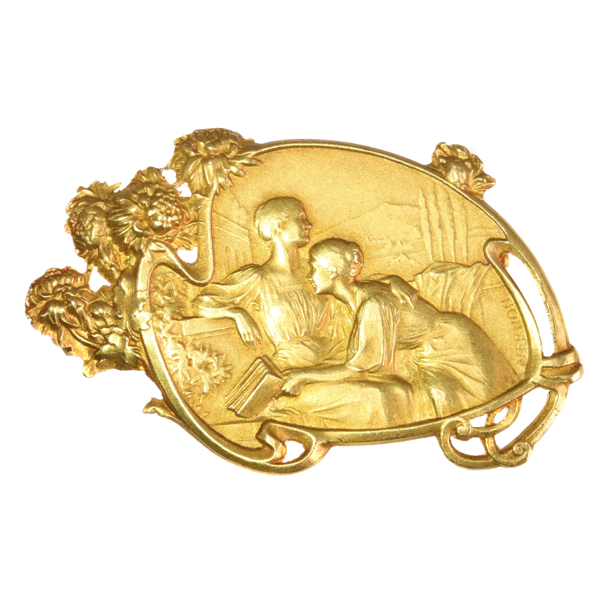 Art Nouveau brooch signed Vernon depicting friendship between two women
