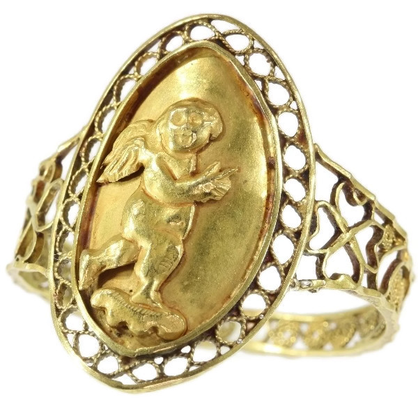 Large Antique French love and luck gold ring with cute little Amor