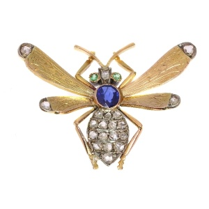 Victorian queen bee brooch with diamonds sapphire and emeralds