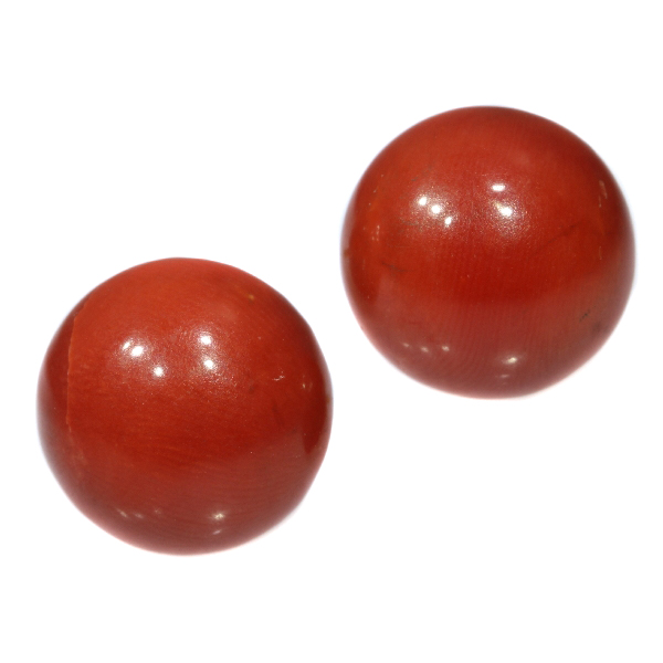 Antique gold red coral stud earrings (ca. 1900)