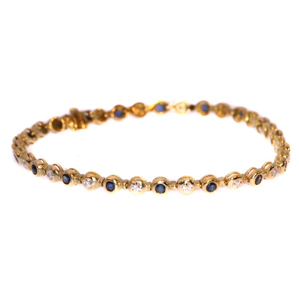 Vintage Gold Bracelet With Diamonds And Shires Around