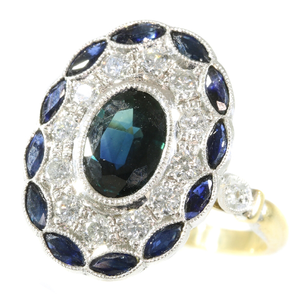 Stylish Art Deco style diamond and sapphire engagement ring