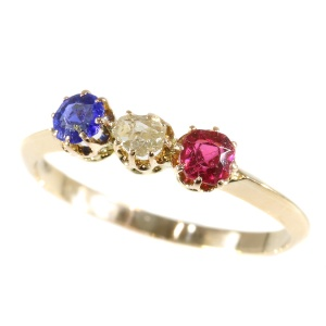 Victorian ring red white and blue stones for French or Dutch national colours