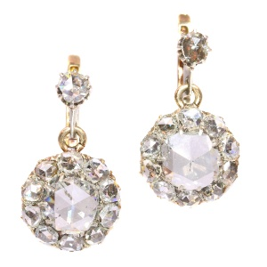 Antique large rose cut diamonds earrings