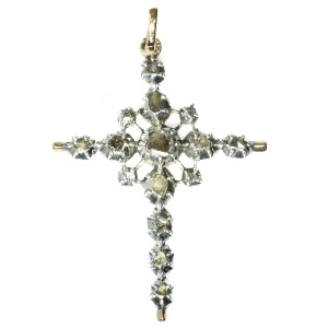Antique diamond silver cross pendant rose cut diamonds