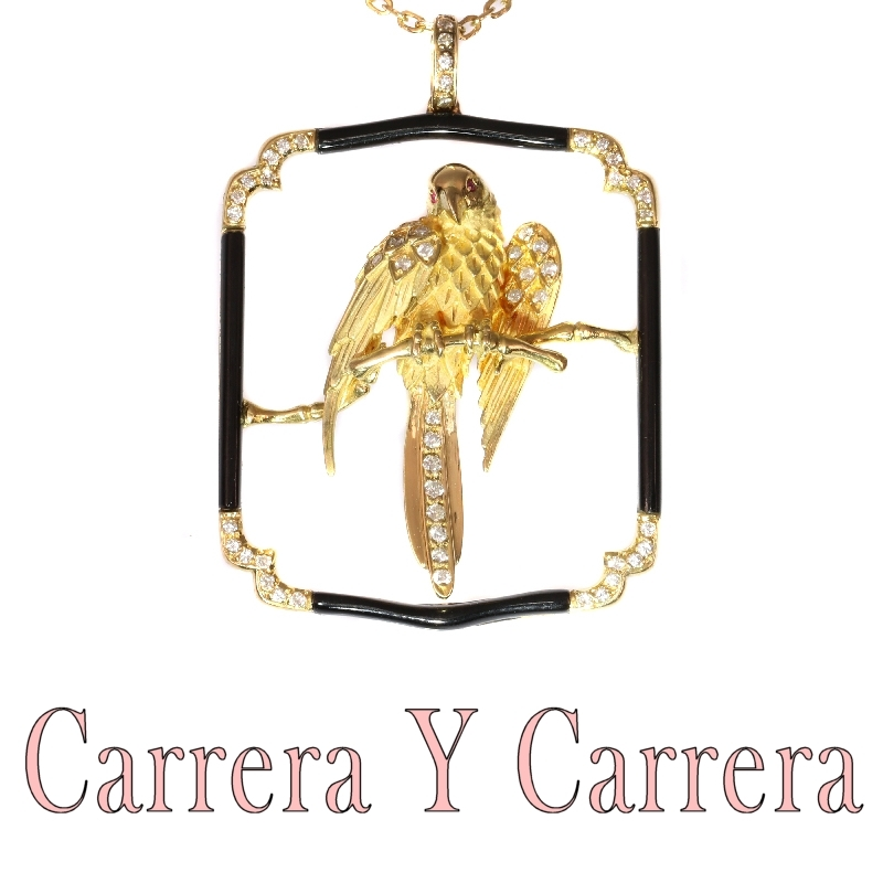 Signed Carrera Y Carrera Vintage gold diamond onyx parrot pendant necklace