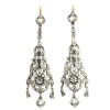 Antique silver Victorian long pendent ear chandeliers with strass stones