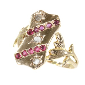 Vintage Victorian gold diamond and red stones ring