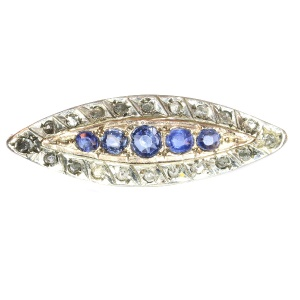 Antique Victorian gold diamond and sapphire brooch - circa 1880