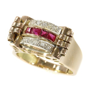 Diamond and ruby yellow gold retro ring
