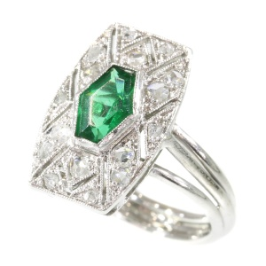 Vintage Art Deco ring with diamonds and green stone