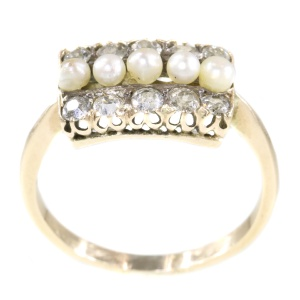Vintage antique diamond and pearl ring